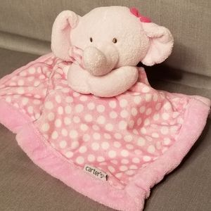 Carter's pink elephant with white dots lovey
